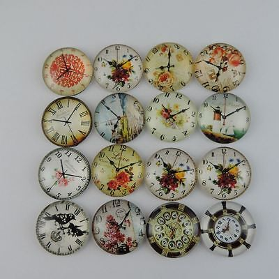12PCS Antique Mixed Pattern Glass Clock Charms Pendant Jewelry 25*25*6mm