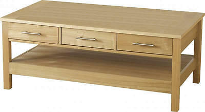 Oakleigh 3 Drawer Coffee Table in Natural Oak Veneer
