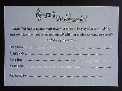 20 Dj Party Song Request Cards Handmade Personalised Wedding Engagement