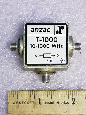 Anzac T-1000 RF Power Divider 2-Way 10-1000MHz SMA  TESTED
