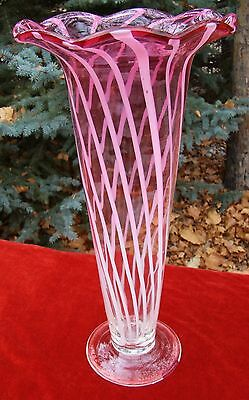 """Vintage - Cranberry - Glass - White Swirls - Fluted - Vase - 16"""" Tall - Nice One"""