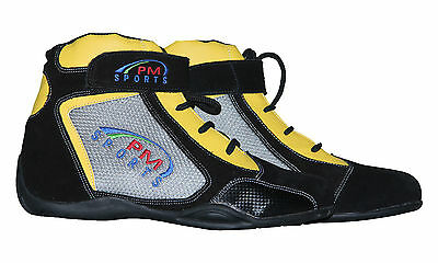 karting boots / racing shoes high cut with suede leather and synthetic leather