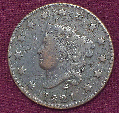 1821 CORONET LARGE CENT VF Detailing RARE 389,000 Minted Authentic US 1C Coin