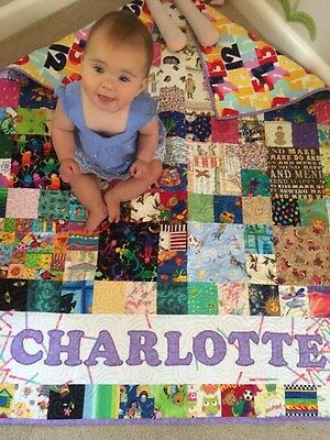 Handmade personalized eye spy quilt choice of 3 sizes and colours made to order