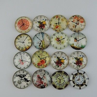 12PCS Antique Style Mixed Pattern Glass Clock Charms Pendant 25*25*6mm 39099