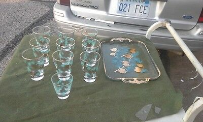 10 Vtg.Mid Century Gold Turquoise Pine Cone Rocks Cocktail Glasses + Tray