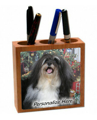 Havanese  black and white color    ( 44 )   Personalized  Pencil and Pen Holder