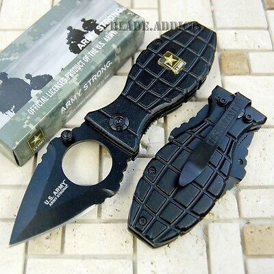 Officially Licensed US Army Black Grenade Spring Assisted Pocket Knife A1001BK-H