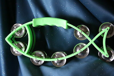 CLOSEOUT! Fish Shaped Tambourine in Green by Dadi, 16 Pairs of Jingles, MT9