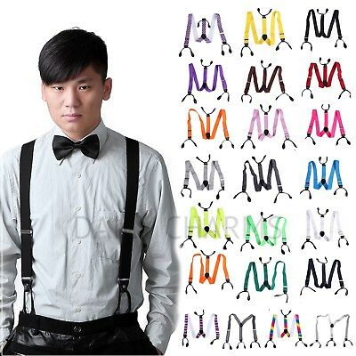 Mens Button Hole Suspenders Classic Solid Tuxedo Formal Y Adjustable Braces
