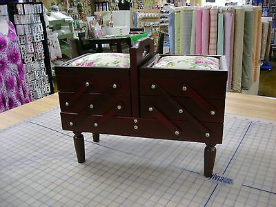 Wooden Sewing Caddy and Craft Box 3 Tier Storage