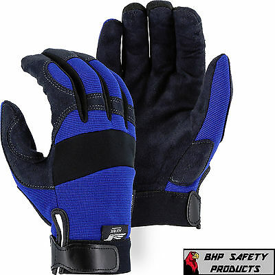 Mechanics Work Gloves Majestic Glove Armorskin Synthetic Leather Sz Med 2137Bl