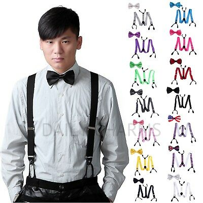 Mens Matching Button Hole Classic Suspenders Braces & Clip-On Bowtie Steampunk