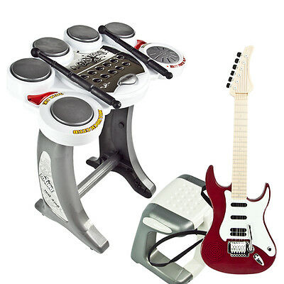 Electronic Drum Set Red Guitar Rock Band Toy Pad Music Kids Boy Girl Musical