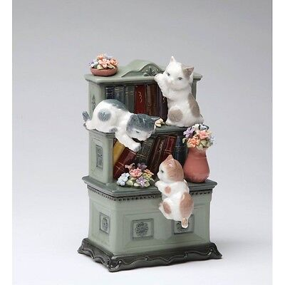 COSMO FINE PORCELAIN HAND-PAINTED THREE CAT PLAYING ON BOOKSHELF FIGURE