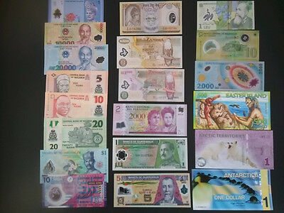 Lots 20Pcs Different Polymer Banknotes Uncirculated - High Quality Collection