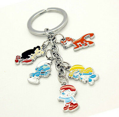 The Smurfs Papa Clumsy Smurfette Gargamel Azrael Metal keychain/ring COLLECTION