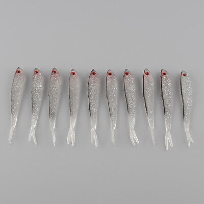 10Pcs 95mm Soft Silicone Tiddler Fish Bait Artificial Fishing Lure Kit