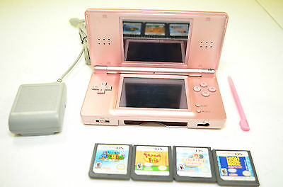 Nintendo DS Lite Metallic Rose bundle System Super Mario 64 Cooking Mama charger