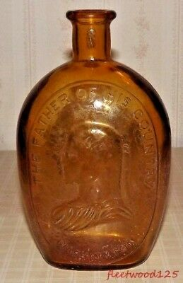 """Vintage Wheaton NJ """" The Father of His Country - Washington"""" Amber Glass Bottle"""