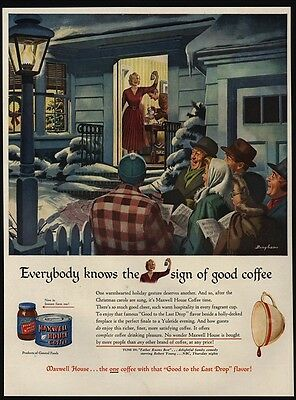 1949 Couple Invite Christmas Carol Folks In For MAXWELL HOUSE COFFEE VINTAGE AD