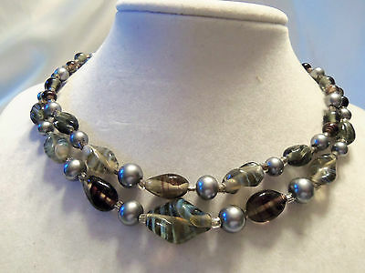 Double-Strand Shades of GRAY & BROWN Glass w/ Silvertone PEARLS Necklace 14N491
