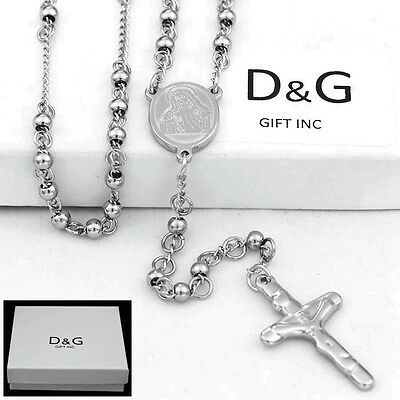 "DG Men's 24"" Stainless Steel-Beaded Rosary VIRGIN MARY+ JESUS CROSS Necklace*BOX"