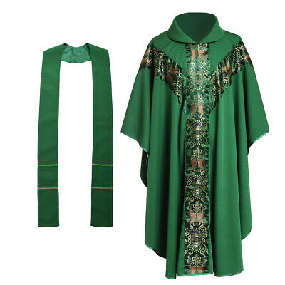 Catholic Church Celebrant Green Vestments Father Priest Chasuble w Collar J033