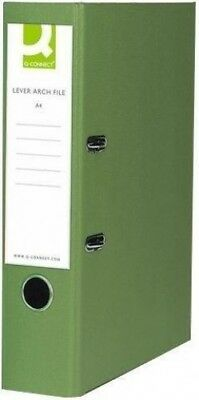Q-Connect Lever Arch File A4 Paper-Backed Green Pack of 10