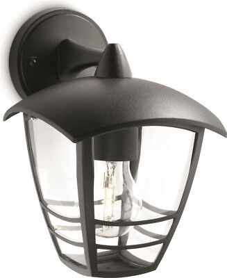 Philips MyGarden Creek Outdoor Garden Lantern Wall Light Black E27 60W 153813016