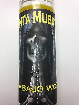 Holy Death 7 Day Candle In Glass Prepared For Work Or Job (Trabajo) Santa Muerte