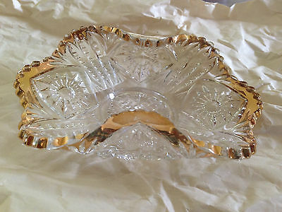 ANTIQUE EAPG EARLY PRESSED GLASS w GOLD ACCENTS BON-BON NICE DECORATIVE DISH