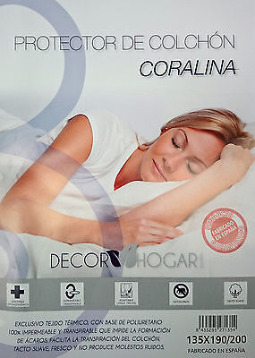 Protector colchon coralina Decorhogar 90 105 135 150 impermeable transpirable