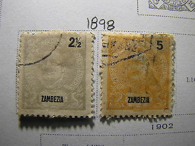 ZAMBEZIA 1893-1915 mini-COLLECTION on an OLD SCOTT ALBUM Page - 3 Stamps
