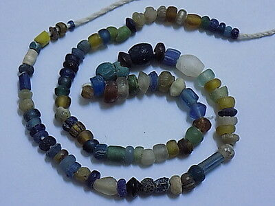 Ancient Roman Glass Beads Strand C.200 BC #BE1730