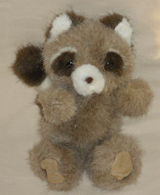 """Vintage Russ Berrie Raccoon Soft N Suede Little Small Stuffed Plush 7"""" 326 Toy"""