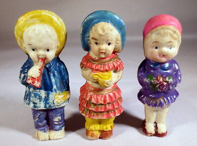 Vintage Antique Bisque Made In Japan  Boy And 2 Girls with bisque doll parts