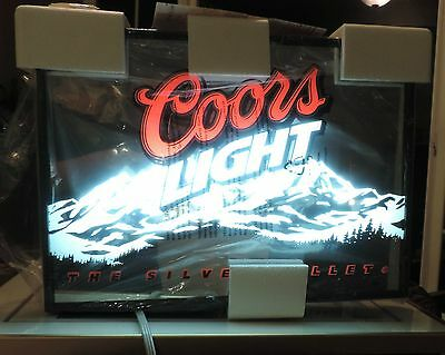 """Coors Light Silver Bullet Mirrored Light Box Perfect for Man Cave 20"""" X 15"""" NIB"""