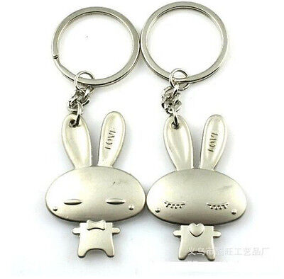 FD750 Rabbit Couple Doll Keychain Keyring Keyfob Cute Gift Creative~1 Pair 2pcs#