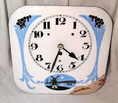 German Porcelain Dial Key Wind Wall Clock with Windmill Parts Repair No Reserve!