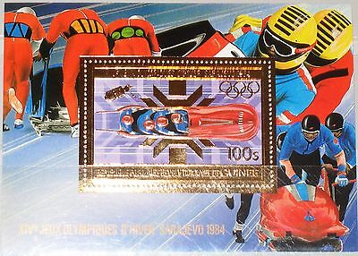 GUINEA 1983 Block 79 A S/S 875A 4 man Bobsled Viererbob Winter Olympics 1984 MNH