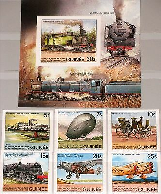 GUINEA 1984 981-86 Block 89 B 883-89 Transportation Car Train Airplane Zeppelin