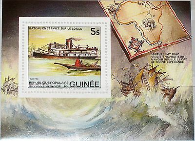 GUINEA 1984 Block 90 Transportation Ship Schiff Flußschiff Map Karte Steamer MNH