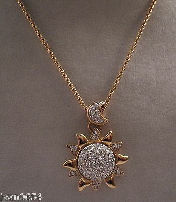 Signed Swan Swarovski Gold Plated Moon and Sun  Pendant Necklace