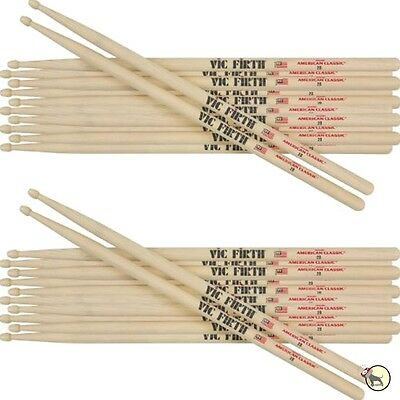 Vic Firth American Classic 7A Wood Tip Light Jazz Thin Drumsticks 12-Pairs Brick