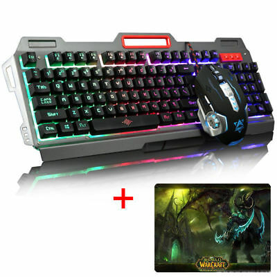 AJAZZ 7 Colors LED Backlit Gaming keyboard+ 2400DPI Gaming Mouse + WOW Mouse Pad