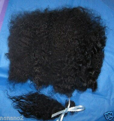 "Silky Angora Mohair 4 Reborn 1 oz Black Waves 'n Curls , 5"" Locks!"