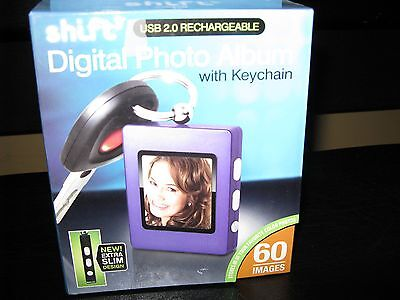 SHIFT USB 2.0 RECHARGEABLE DIGITAL PHOTO ALBUM WITH KEYCHAIN,60 IMAGES,NIB