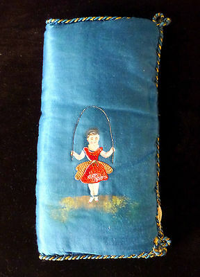Antique French Lingerie Pouch Blue Nightgown Girl Jumprope Vintage 19 c 1800s