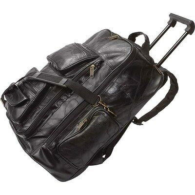 Black Leather Rolling Suitcase Bag, Mens Carry-On Backpack Trolley Luggage Case